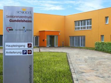 Das Seniorenzentrum Gundelsheim besteht aus zwei Bauteilen, die sich jeweils um einen Innenhof grupp...
